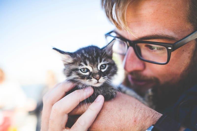Фото мужчины с котенком